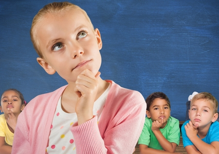 Digital composite of Girl thinking in front of friends and blue wall