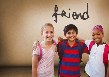 Digital composite of Friend text and Kids friends together in blank room Reklamní fotografie