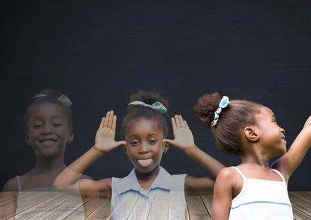 Digital composite of Girl transition effect fading with blackboard backround