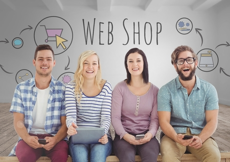 electronic commerce: Digital composite of Group of people sitting with devices in front of web shop graphics