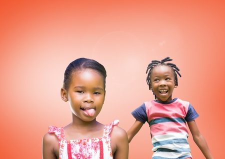 way out: Digital composite of kids fooling around playing with blank orange background