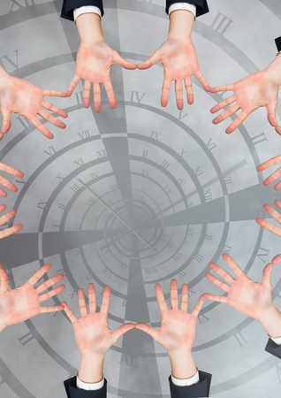 Digital composite of Hands in circle around time tunnel twisting