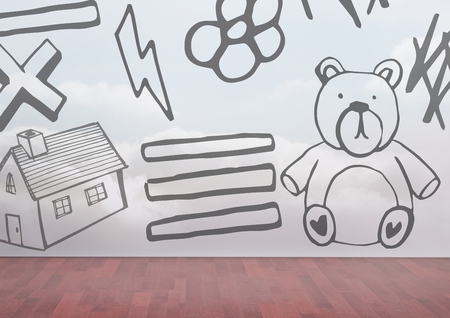 floorboards: Digital composite of Childrens drawings on wall