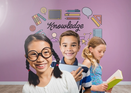 Digital composite of Clever kids with blank room background with knowledge graphics