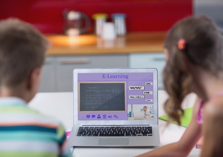 Digital composite of Kids looking at a computer with e-learning information in the screen Stock Photo