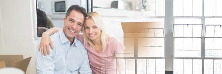 Digital composite of Happy couple in their new house