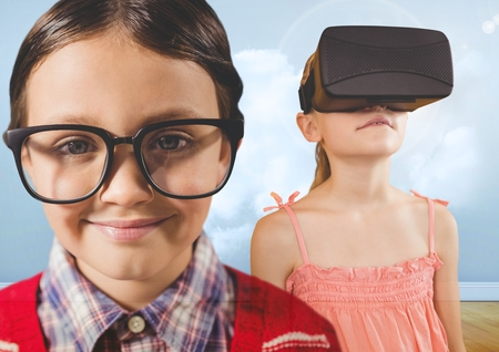 Digital composite of Boy with glasses and girl with VR headset in cloudy room
