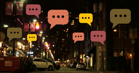 human settlement: Digital composite of Chat bubbles over night city