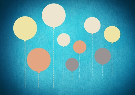 Digital composite of Colorful balloons floating on blue background