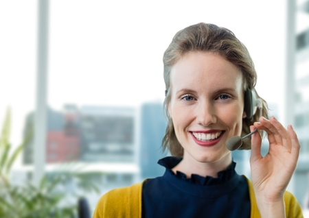 early twenties: Digital composite of Happy customer care representative woman against office background