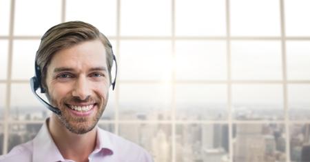 customer service representative: Digital composite of Happy customer care representative man against city background