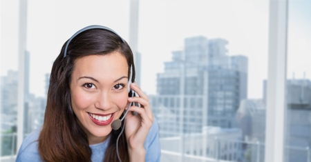 customer service representative: Digital composite of Happy customer care representative woman against city background