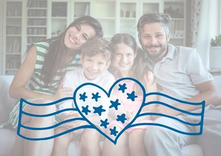 Digital composite of Happy family celebrating independence day