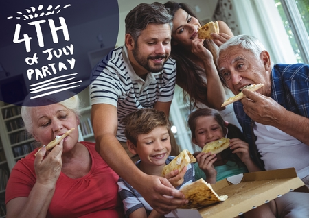 Digital composite of Navy and white fourth of July party graphic against family eating pizza Stock Photo