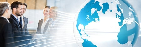 Digital composite of Business meeting with world graphic transition Standard-Bild