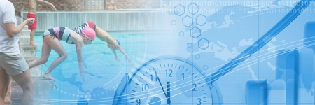 Digital composite of Children diving into Swimming pool with transition and time clock and map of world Reklamní fotografie