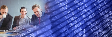 Digital composite of Business meeting with blue  finance graph transition Stock Photo