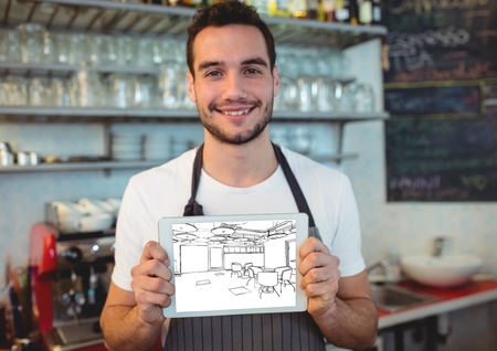 Digital composite of young man working on a bar with tablet with the new bar design (white and black)