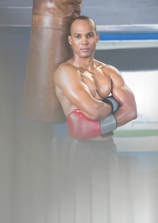 Digital composite of Boxer fighter man with transition