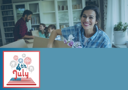 moving in: Digital composite of Smiling family opening boxes for the 4th of july Stock Photo