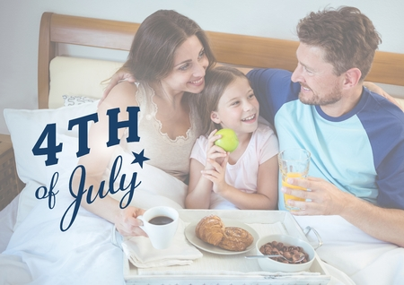 Digital composite of family chilling on the bed for the 4th of July
