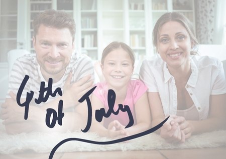 Digital composite of Happy family celebrating independence day Stock Photo