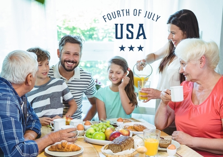 Digital composite of Happy family celebrating 4th of July