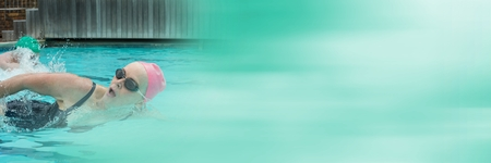 swimming candles: Digital composite of Woman swimming in Swimming pool with transition
