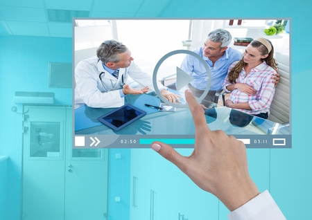 Digital composite of Hand touching Medical Doctor Video Player App Interface