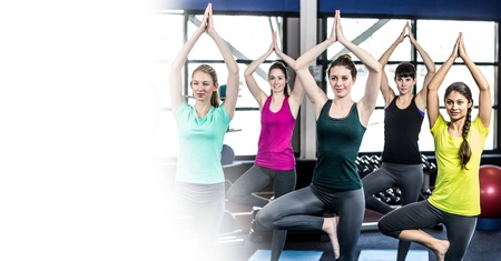 Digital composite of Women doing yoga and white transition