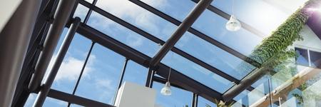 Compuesto digital de casa con hiedra y transición de ventana