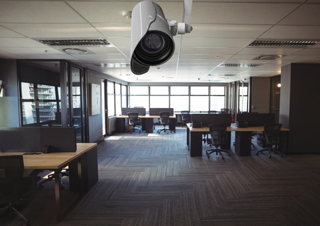 carpet flooring: Digital composite of cctv, in the office on the ceiling