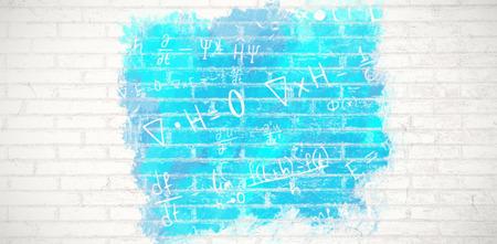 Digital composite image of algebraic formulas against white wall