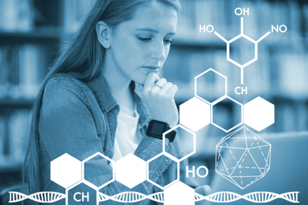 Graphic image of chemical structure against student with smartwatch using laptop in library