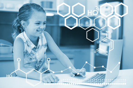 Digital image of chemical structure against smiling girl using laptop in kitchen Stock Photo