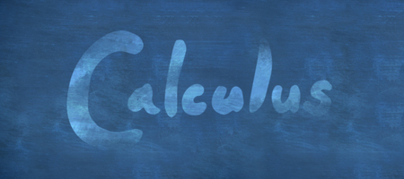 Calculus text against white background against blue background Stock Photo