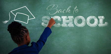 smart boy: Back to school text over white background against rear view of businesswoman writing on chalkboard