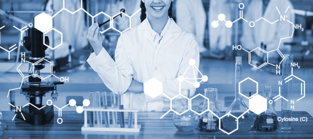 Digitally generated image of chemical structure against portrait of smiling schoolgirl in laboratory Stock Photo