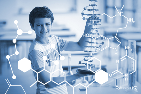 Digitally generated image of chemical structure against portrait of schoolboy experimenting molecule model in laboratory
