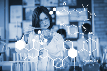 Digitally generated image of chemical structure against school girl experimenting with chemical in laboratory at school