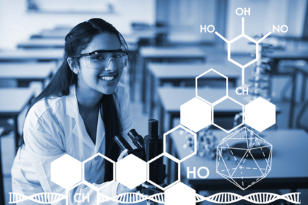 Graphic image of chemical structure against portrait of happy schoolgirl holding microscope in laboratory Stock Photo