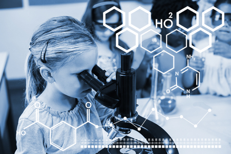 Digital image of chemical structure against schoolgirl looking through microscope