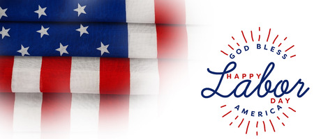 cytosine: Composite image of happy labor day and god bless America text against full frame of wrinkled american flag