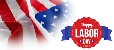 cytosine: Happy labor day text in banner against full frame of wrinkled american flag Stock Photo