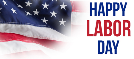 Digital composite image of happy labor day text with tools against full frame of wrinkled american flag Stock Photo