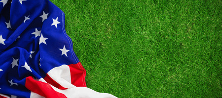 cytosine: Close-up of American flag against closed up view of grass Stock Photo