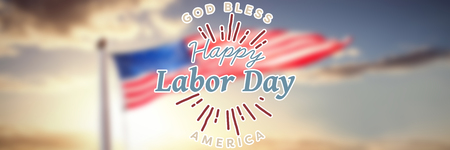 cytosine: Digital composite image of happy labor day and god bless America text against view of beach during sunset