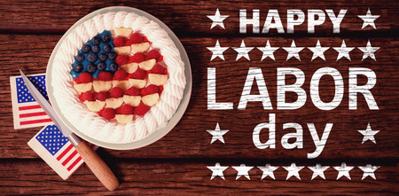 fruitcakes: Poster of happy labor day text against fruitcake with 4th july theme