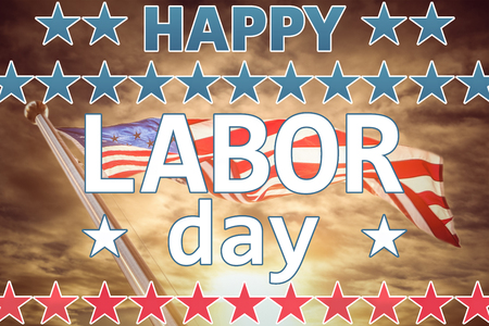 Happy labor day text with star shape against cloudy sky landscape