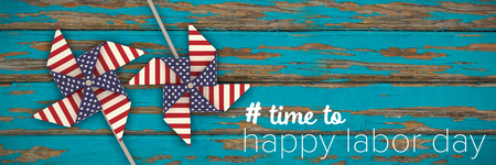 Digital composite image of time to happy labor day text against wood panelling